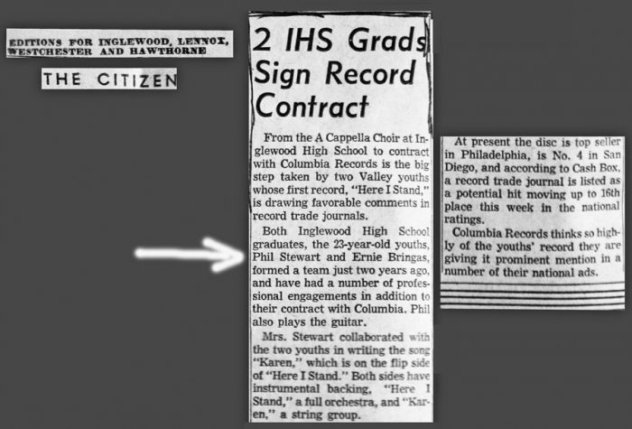 image of newspaper clipping showing how Ernie and Phil got a recording contract