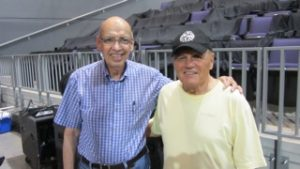 Photo of Ernie Bringas and Bruce Johnston after a Beach Boy concert in 2012