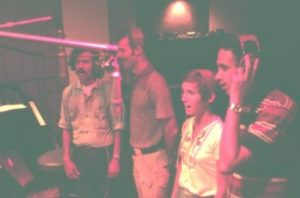 image of Brian Dave Janice and Ernie recording vocals inside Gold Star Studio