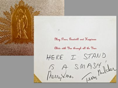 Christmas card given to Ernie, signed by Terry Melcher