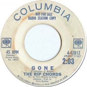 image of the 45 record label - Gone - stating - not for sale - radio station copy